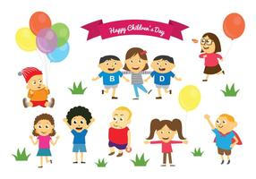 Fri Happy Children's Day Vectors