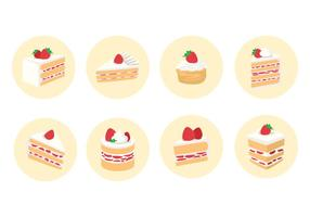 Geschnittener Erdbeer-Shortcake-Vektor