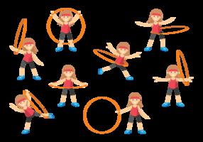Söt tjej med Hula Hoop vektor