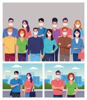 Gruppe von Menschen mit Gesichtsmaske für Coronavirus vektor