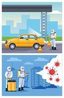 Biosicherheitsarbeiter desinfizieren Taxi und Stadt vektor