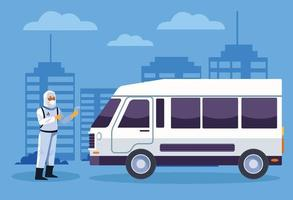 Biosicherheitsarbeiter desinfiziert einen Van auf Coronavirus vektor
