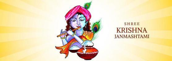 Lord Krishna spelar flöjt med orange skärm janmashtami banner design