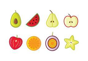 Gratis Frukt Ikonuppsättning vektor