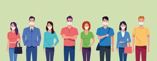 grupp människor som använder ansiktsmask för coronavirus