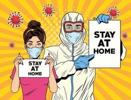 kvinna och en man med biosäkerhetsdräkt