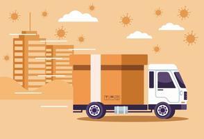leverans av lastbilar med partiklar av coronavirus