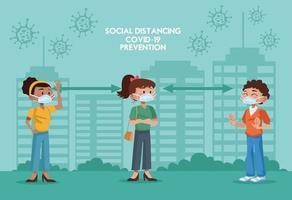 Menschen mit Masken und sozialer Distanz vektor