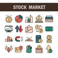 aktiemarknad och ekonomi linje och fylla Ikonuppsättning vektor