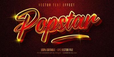 popstar-text, glänsande röd och gyllene texteffekt