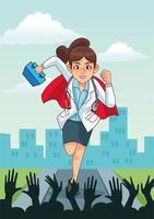 super kvinnlig läkare som kör med medicinsk utrustning