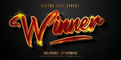 vinnare text, glänsande guld, röd stil text effekt