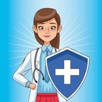 super kvinnlig läkare med sköld vs covid19