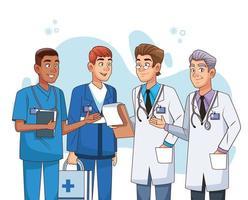 professionella manliga läkare personal karaktärer