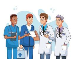 professionelle männliche Ärzte Mitarbeiter Charaktere vektor