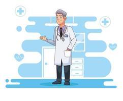 professionell läkare karaktär med stetoskop