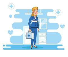 professionell kvinnlig paramedic karaktär
