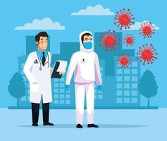 Biohazard Reinigungsperson mit covid19 Partikeln