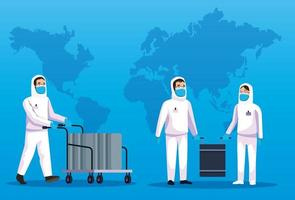 biohazard rengöring personer med världskarta