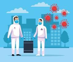 Personen mit Biohazard-Reinigung mit covid19 vektor