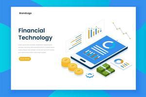 Landingpage der isometrischen Finanztechnologie mit Smartphone