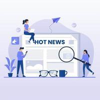 läser heta nyheter platt designkoncept