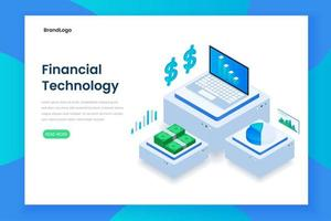 platt färg isometrisk finansiell teknik koncept vektor