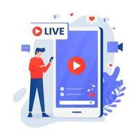 sociala medier live streaming koncept med karaktär vektor