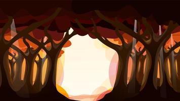 dunkler Wald im Herbst mit Sonnenlicht vom Himmel