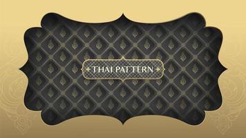goldener Rahmen über schwarz-goldenem Thai-Muster vektor