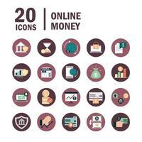 mobilbank och digitala finanser Ikonuppsättning vektor
