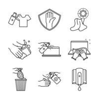 Sammlung von Symbolen im Stil von Präventions- und Desinfektionslinien