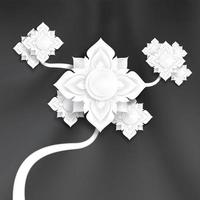 abstrakte traditionelle Papierkunstblumen auf schwarzer Seidenbeschaffenheit vektor