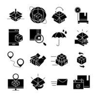 uppsättning svart fylld leverans och logistik ikoner
