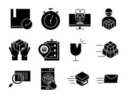 Lieferung und Logistik schwarz Icon Set