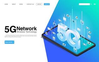 5g trådlös nätverksteknologi på målsidan för mobiltelefoner