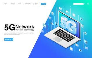 5g trådlös nätverksteknologi på den målsida för bärbar dator vektor