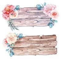 Aquarell Holzschild Set mit Blumen verziert