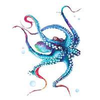 Tintenfischmalerei in Aquarell