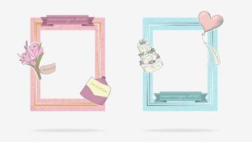 süße Blumen und Ehe 2020 Rahmen gesetzt vektor