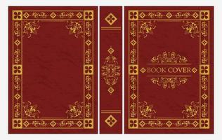 rött och guld dekorativt av klassiskt bokomslag vektor