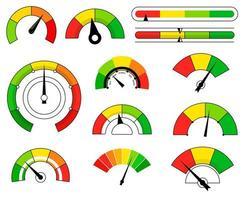 uppsättning olika färgade tecknad skalor med pilar vektor
