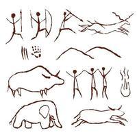 Höhlenfelsenmalerei alte Kunstsymbole vektor