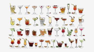 handritad stil cocktails set