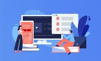 testa online-applikationskoncept vektor