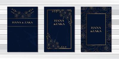 Hochzeitseinladungskarten mit goldener Rosenlinienschablone vektor