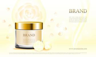 Kosmetikanzeige einer cremefarbenen Hautpflege mit weißem Rosendesign