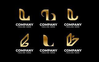 Metallic Gold Buchstabe L Emblem Bündel vektor