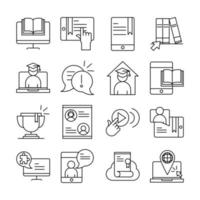 online utbildning linje piktogram ikon pack