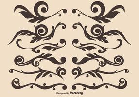 Vektor uppsättning av handdragen dekorativa delar